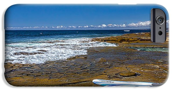 La Jolla Surfers iPhone Cases - The Long Board iPhone Case by Peter Tellone