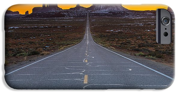 White House iPhone Cases - The Long Road to Monument Valley iPhone Case by Larry Marshall