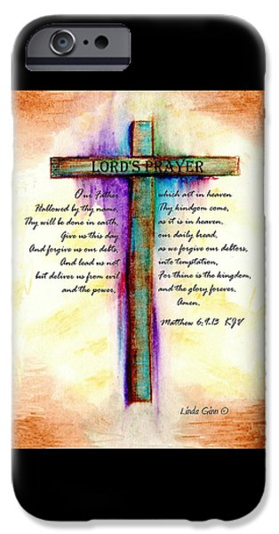 Religious Drawings iPhone Cases - The Lords Prayer iPhone Case by Linda Ginn