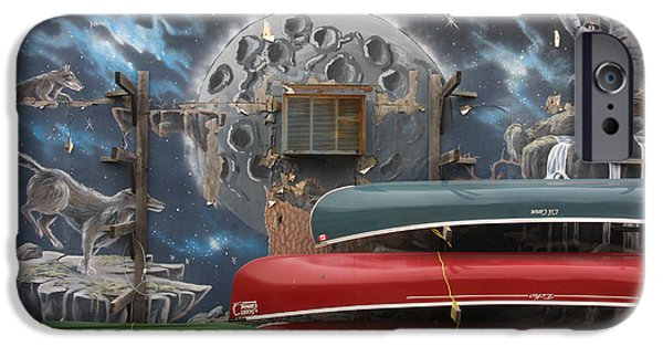 Canoe iPhone Cases - The Lunar Canoe Club iPhone Case by Kreddible Trout