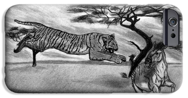 The Tiger iPhone Cases - The Lunge iPhone Case by Peter Piatt