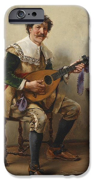 Lute Paintings iPhone Cases - The Lute Player iPhone Case by Celestial Images