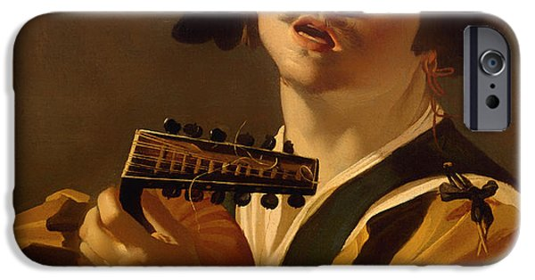 Feathered Hat iPhone Cases - The Lute Player iPhone Case by Dirk Van Baburen