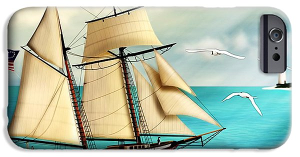 Tall Ship Digital Art iPhone Cases - The Lynx tall ship iPhone Case by John Wills