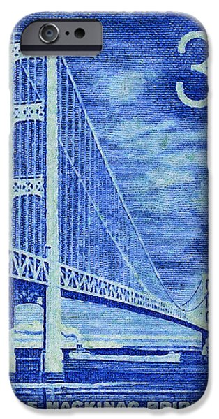 Recently Sold -  - Connection iPhone Cases - The Mackinac Bridge stamp iPhone Case by Lanjee Chee