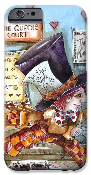 Mad Hatter iPhone Cases - The Mad Hatter - in court iPhone Case by Lucia Stewart