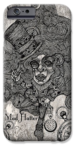Mad Hatter iPhone Cases - The Mad Hatter iPhone Case by Akiko Kobayashi