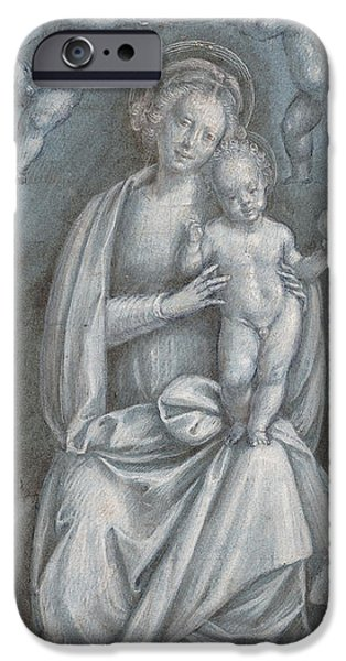 Religious Pastels iPhone Cases - The Madonna and Child Crowned by two Angels iPhone Case by Bernardino Lanino