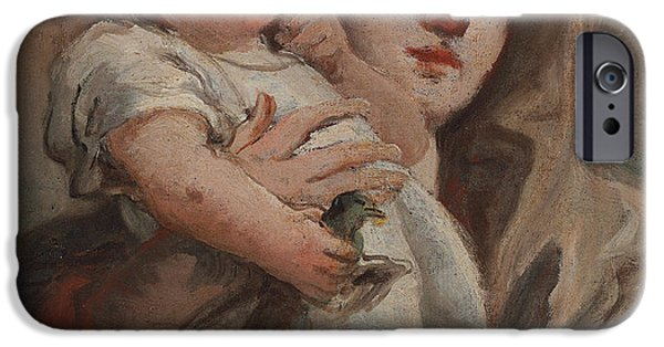 Baby Jesus iPhone Cases - The Madonna and Child with a goldfinch iPhone Case by Tiepolo