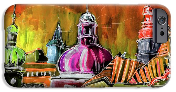 Prague Digital iPhone Cases - The Magical Rooftops of Prague 01 iPhone Case by Miki De Goodaboom