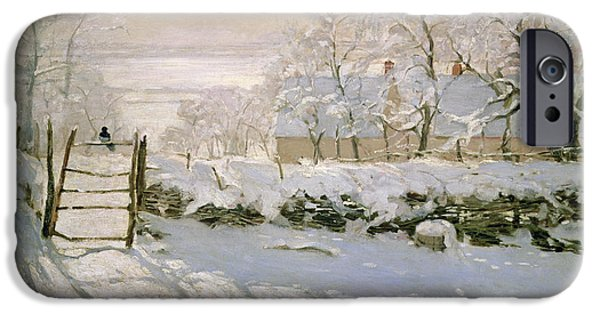 Snow iPhone Cases - The Magpie iPhone Case by Claude Monet
