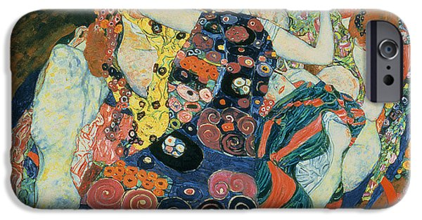Lesbian Paintings iPhone Cases - The Maiden iPhone Case by Gustav Klimt