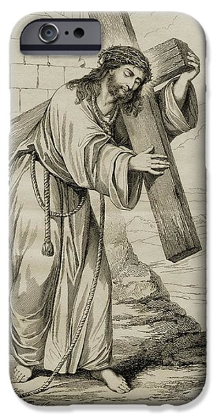 Jesus Drawings iPhone Cases - The Man Of Sorrows. 19th Century Print iPhone Case by Ken Welsh