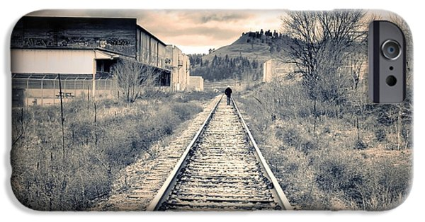Monotone iPhone Cases - The Man on the Tracks iPhone Case by Tara Turner