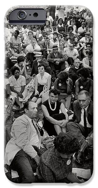 Unrest iPhone Cases - The March on Washington   A Crowd of Seated Marchers iPhone Case by Nat Herz