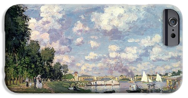 River iPhone Cases - The Marina at Argenteuil iPhone Case by Claude Monet