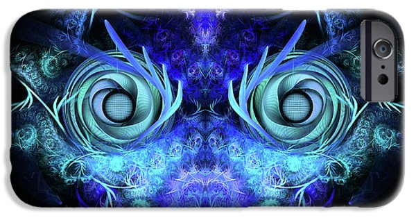 Fractals Fractal Digital Art iPhone Cases - The Mask iPhone Case by John Edwards