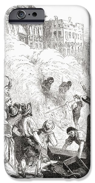 Religious Drawings iPhone Cases - The Massacre Of Protestants At iPhone Case by Ken Welsh