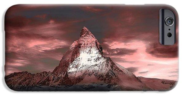 Swiss Landscape iPhone Cases - The Matterhorn At Dusk iPhone Case by Klausdie