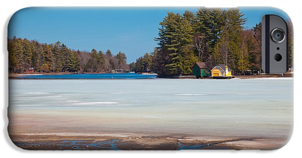 Snow Scene iPhone Cases - The Melting of Old Forge Pond iPhone Case by David Patterson