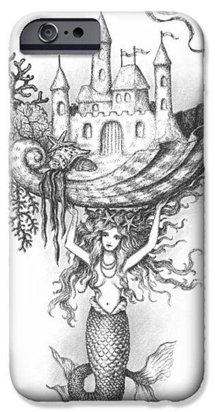 Sand Castles iPhone Cases - The Mermaid Fantasy iPhone Case by Adam Zebediah Joseph