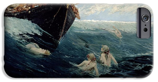 Sailing Paintings iPhone Cases - The Mermaids Rock iPhone Case by Edward Matthew Hale