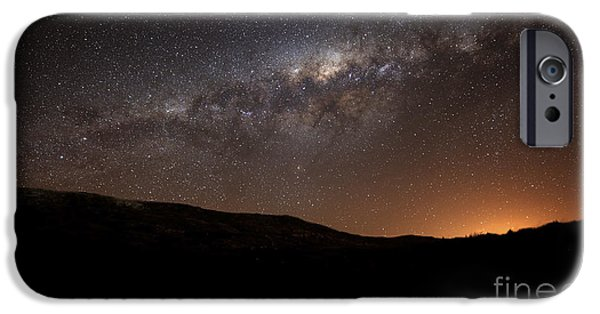 Stellar iPhone Cases - The Milky Way Setting Behind The Hills iPhone Case by Luis Argerich