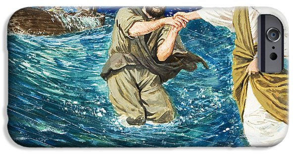 Sea iPhone Cases - The Miracles of Jesus Walking on Water  iPhone Case by Clive Uptton