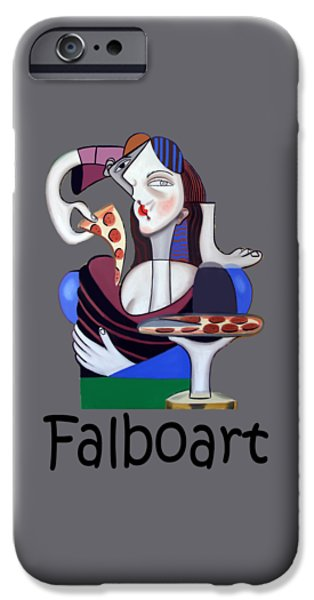 Shirt Digital iPhone Cases - The mona Pizza T-shirt iPhone Case by Anthony Falbo