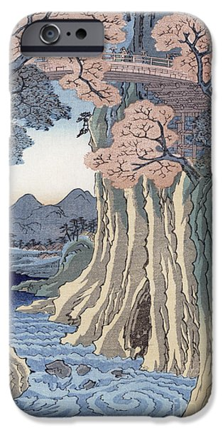Tree Art Print iPhone Cases - The monkey bridge in the Kai province iPhone Case by Hiroshige