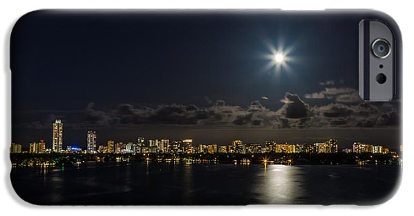 Skylines Pyrography iPhone Cases - The Moon over Biscayne Bay iPhone Case by Satoshi Kina