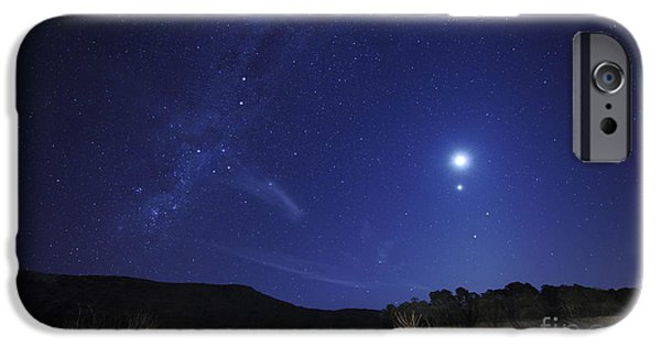 Constellations iPhone Cases - The Moon, Venus, Mars And Spica iPhone Case by Luis Argerich