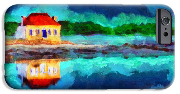 Sea Moon Full Moon Paintings iPhone Cases - The moon was yellow iPhone Case by George Rossidis
