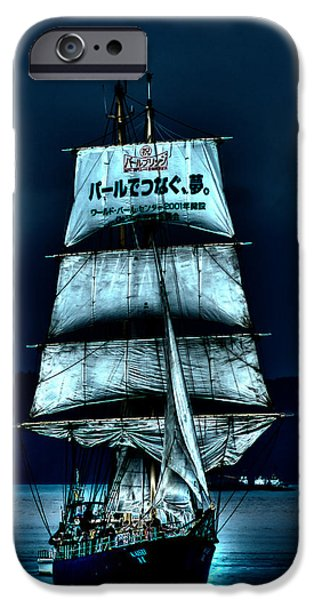Pirate Ship iPhone Cases - The Moonlit Kaisei Brigantine Tall Ship iPhone Case by David Patterson