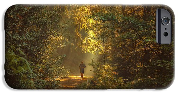 Pathway iPhone Cases - The morning jog iPhone Case by Chris Fletcher