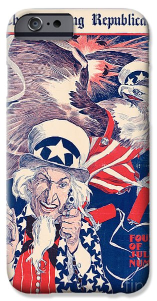 Republican Mixed Media iPhone Cases - The morning Republican Uncle Sam Poster 1898 Restored iPhone Case by Carsten Reisinger