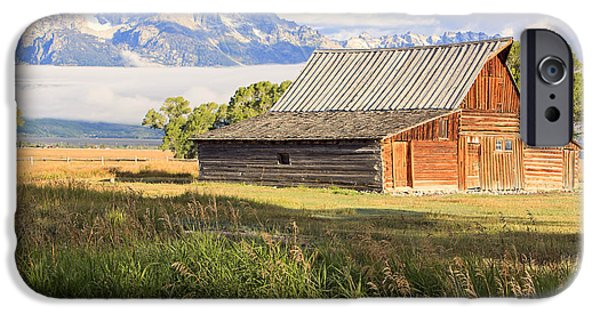 Morning iPhone Cases - The Moulton Barn on Mormon Row. iPhone Case by Johnny Adolphson