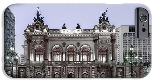 Police Art iPhone Cases - The Municipal Theatre at Dusk - Sao Paulo Brazil iPhone Case by The Photographer