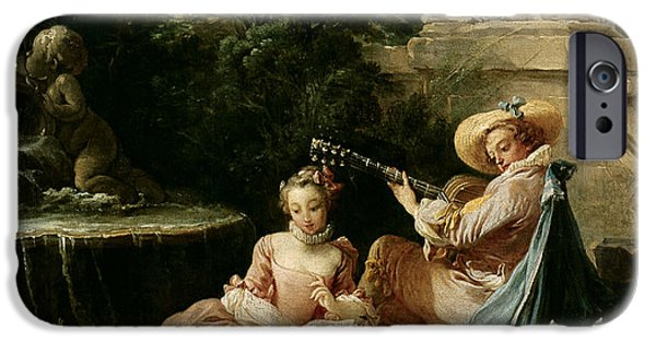 Sheet iPhone Cases - The Music Lesson iPhone Case by Francois Boucher