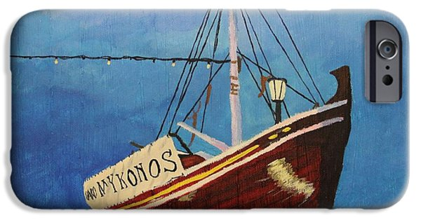 Night Lamp iPhone Cases - The Mykonos Boat iPhone Case by Marina McLain