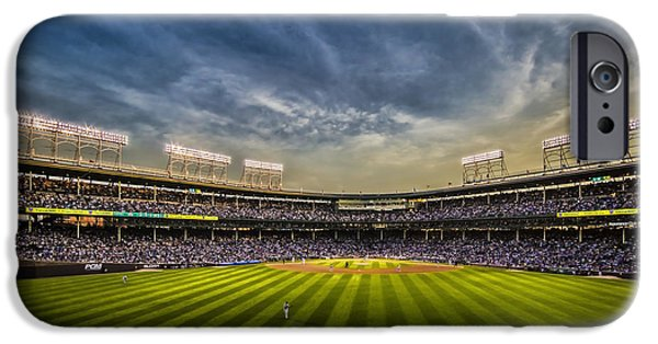 Wrigley Field iPhone Cases - The New Wrigley Field With Pretty Sunset Sky iPhone Case by Sven Brogren