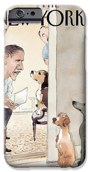 President Obama Photographs iPhone Cases - The New Yorker Cover - December 8th, 2008 iPhone Case by Conde Nast