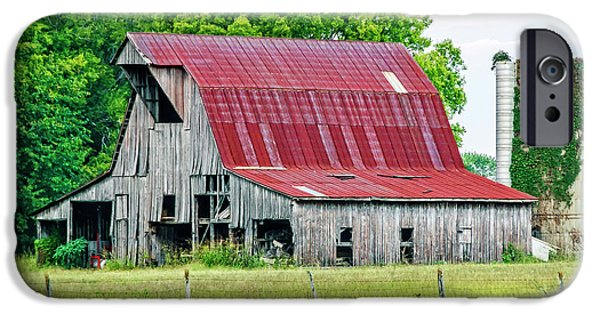 Red Roofed Barn iPhone Cases - The Old Barn iPhone Case by Charles Dobbs