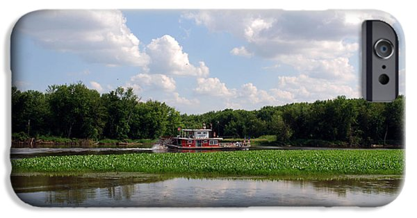 River View iPhone Cases - The old boat on the Mississippi River iPhone Case by Susanne Van Hulst