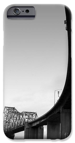 The Old Carquinez Bridge . Black and White . 7D8832 iPhone Case by Wingsdomain Art and Photography
