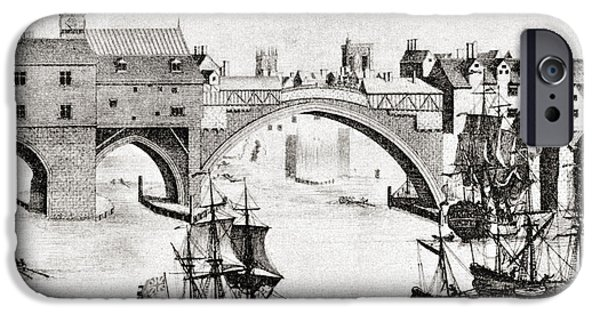 Dismantled iPhone Cases - The Old Ouse Bridge, River Ouse, York iPhone Case by Vintage Design Pics