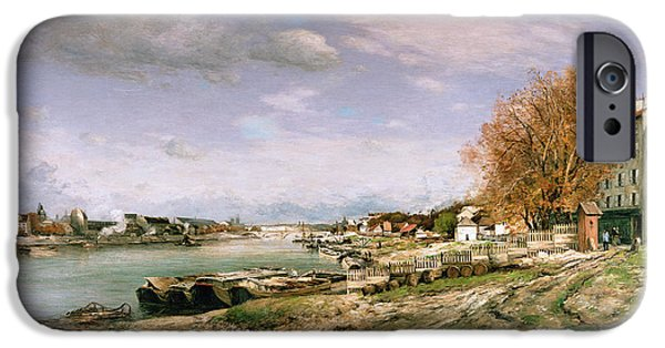 Industrial Paintings iPhone Cases - The old quay at Bercy iPhone Case by Jean Baptiste Armand Guillaumin