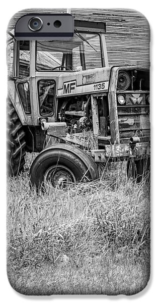 Agricultural iPhone Cases - The Old Tractor by the Old Round Barn II iPhone Case by Edward Fielding