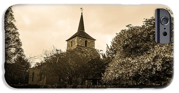 Old Digital Art iPhone Cases - The Old Village Church iPhone Case by Martin Wall