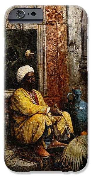 Pottery Paintings iPhone Cases - The Orange Seller iPhone Case by Ludwig Deutsch